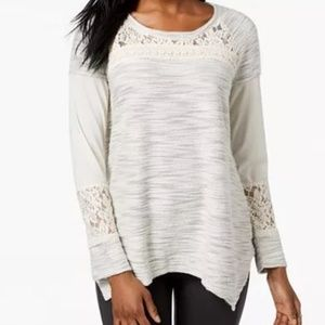 Style & Co Asymmetrical Lace-Contrast Knit Top-L